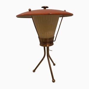 Italienische Dreibein Tischlampe aus Messing & Glas von Stilnovo, 1950er