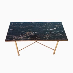 Mid-Century Brass and Marble Coffee Table