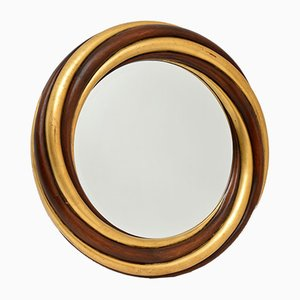 Großer Vergoldeter Vintage Holz Spiegel von Harrison & Gil
