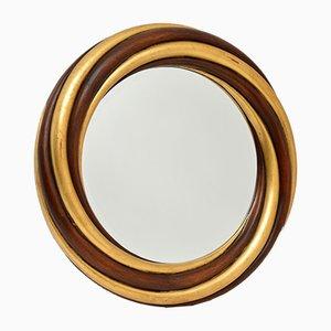 Specchio grande vintage in legno dorato di Harrison & Gil