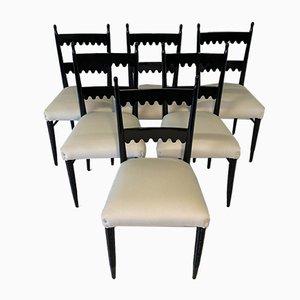 Italian Black & Ivory Dining Chairs by Pier Luigi Colli, 1940s, Set of 6