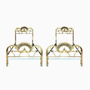 French Gold Brass and Bronze Twin Size Headboards, 1950s, Set of 2