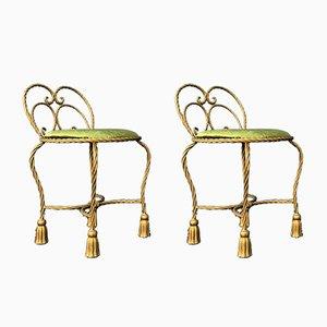 Chaises en Rotin et Pompon en Patine Dorée et Velours Vert, 1970s, Set de 2