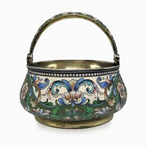 Antique Solid Silver and Enamel Basket by Vasily Agafonov