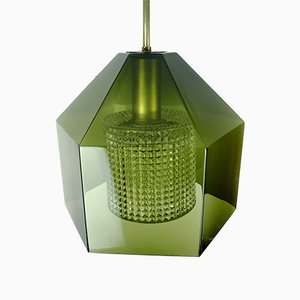 Scandinavian Glass & Brass Ceiling Lamp by Carl Fagerlund for Orrefors, 1960s