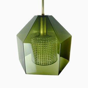 Skandinavische Glas & Messing Deckenlampe von Carl Fagerlund für Orrefors, 1960er