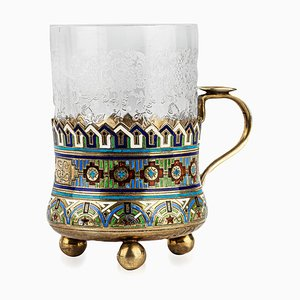 Antiker versilberter und emaillierter Teeglashalter von Andrei Bragin