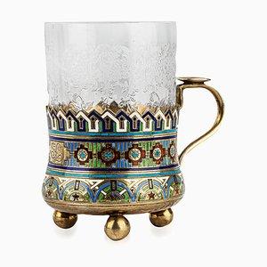 Portavecchi antico in metallo dorato e smaltato di Andrei Bragin
