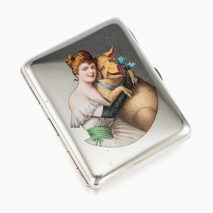 Antique Austrian Solid Silver and Enamel Cigarette Case by Georg Adam Scheid