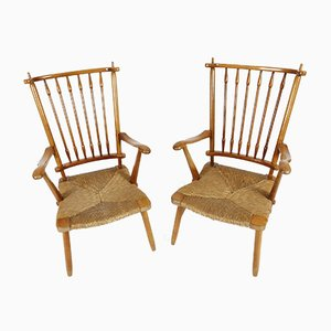 Organic Shaped Armchairs by Charlotte Perriand in Sherry Wood, 1950s, Set of 2