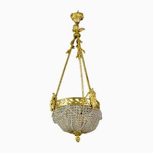 Französischer Neoklassizistischer Kronleuchter aus Bronze & Kristallglas, 1920er