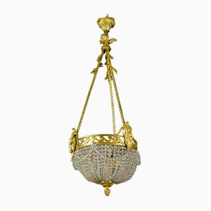 French Neoclassical Style Bronze and Crystal Glass Chandelier, 1920s