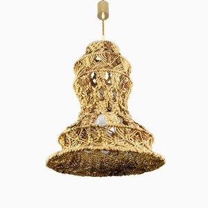 Lampe à Suspension Artisanale Macramé Vintage Tressé, 1970s