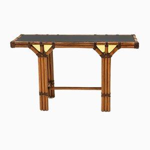 Konsolentisch aus Bambus, Messing & Opalglas, 1970er