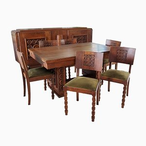 Dining Room Set by Charles Dudouyt for Charles Dudouyt , 1930s, Set of 8