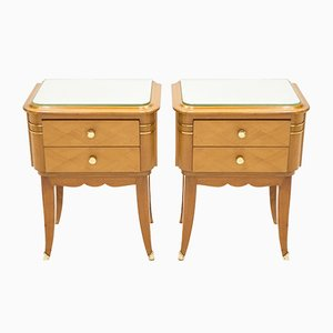 Sycamore Bedside Tables by Jean Pascaud, 1940s, Set of 2