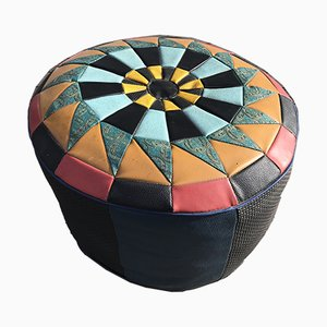 Mosaic Leather Pouf, 1970s
