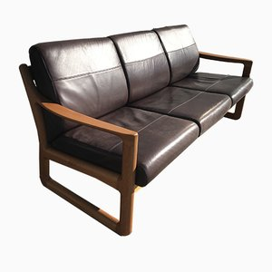 Vintage Danish Teak & Leather Sofa by Johannes Andersen for CFC Silkeborg, 1960s