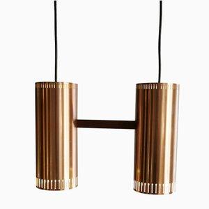 Copper Cylinder II Ceiling Lamp by Johannes Hammerborg for Fog & Mørup, 1960s