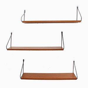 Teak Wall Shelves, 1960s, Set of 3