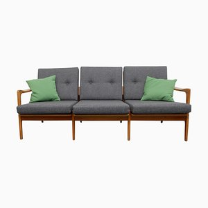 Cherry Wood Sofa with Green Cushions, 1960s
