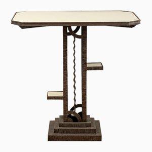 Schmiedeeisen und Opalglas Tisch, 1920er