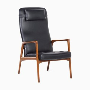 Mid-Century Danish Armchair in Teak and Black Artificial Leather, 1970s