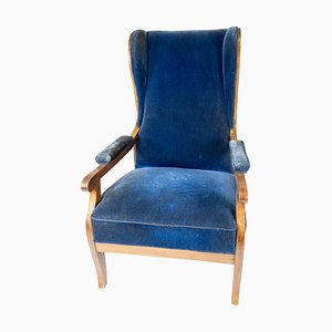 Armchair in Blue Velvet and Mahogany by Fritz Henningsen