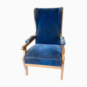 Poltrona di velluto blu e mogano di Fritz Henningsen