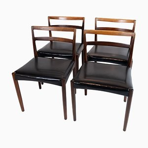 Danish Dining Chairs in Rosewood and Black Leather, 1960s, Set of 4