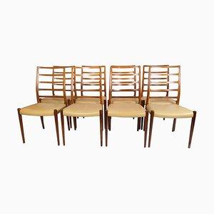 Chaises de Salon Modèle 82 par NO Møller, 1960s, Set de 8