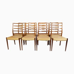 Sedie da pranzo nr. 82 di NO Møller, anni '60, set di 8