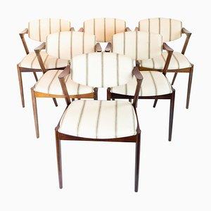 Sedie da pranzo modello 42 di Kai Kristiansen, anni '60, set di 6