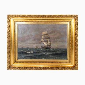 Ölgemälde mit Marine-Motiv von Carl Locher