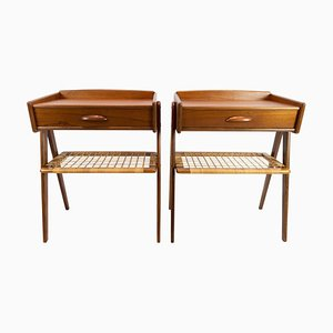 Teak Side Tables with Paper Cord Shelf, Denmark, 1960s, Set of 2
