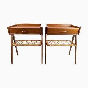 Teak Side Tables with Paper Cord Shelf, Denmark, 1960s, Set of 2