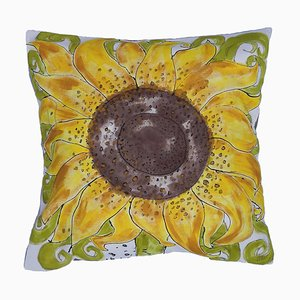 Hand-Painted Sunflower Throw Cushion by Joan Collier