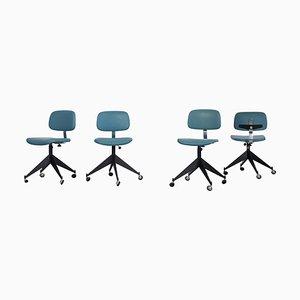 Blaue Mid-Century Bürostühle von Velca Legnano, 4er Set