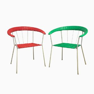 German Vintage Garden Chairs in Red & Green, Set of 2