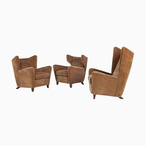 Velvet Lounge Chairs Attributed to Melchiorre Bega, Italy, 1950s, Set of 3