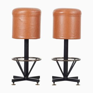 Barstools with Brown Leatherette Cover, Italy, 1960s, Set of 2