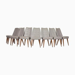 Chairs with Light Grey Leatherette Cover, Italy, 1950s, Set of 8