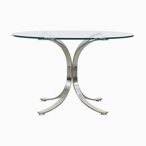 Tavolo rotondo in vetro nello stile di Eugenio Gerli e Osvaldo Borsani