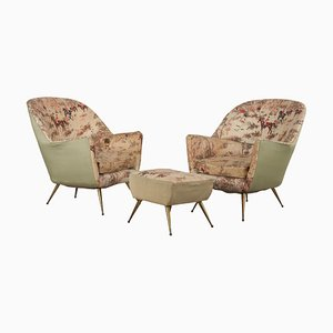 Italian Armchairs with Brass Legs and Footrest by Isa Bergamo, 1950s, Set of 3