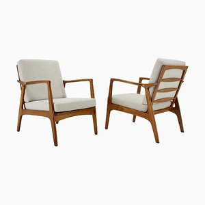 Oak Armchairs, Czechoslovakia, 1970s, Set of 2