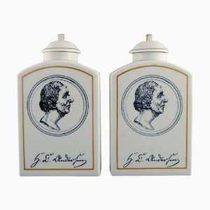 Tea Caddies in Porcelain from Bing & Grondahl H. C. Andersen, Set of 2