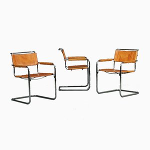 Modern Classic Cognac Leather S34 Chair by Mart Stam for Thonet