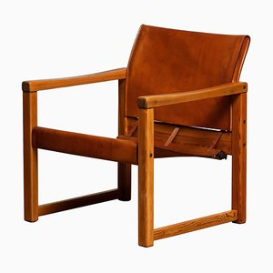 Cognac Leather Safari Diana Armchair by Karin Mobring for IKEA, Sweden, 1970s