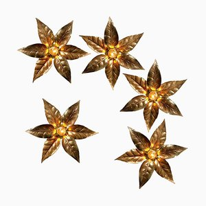 Brass Flowers Wall Light in the Style of Willy Daro, 1970s
