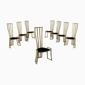 Enamelled Metal, Foam & Velvet Chairs by Marzio Cecchi, Italy, 1980s, Set of 8